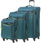 American Tourister Applite 2.0 Softside Suitcase Set of 3 Teal Green 68052, 68053, 68054 with FREE Travelon Luggage Scale 12775