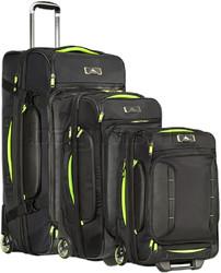High Sierra AT8 Backpack Drop Bottom Wheel Duffel Set of 3 Black 73227, 67926, 67927 with FREE Samsonite Luggage Scale 34042