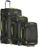High Sierra AT8 Drop Bottom Wheel Duffel with Backpack Straps Set of 3 Black 73227, 67926, 67927 with FREE Samsonite Luggage Scale 34042