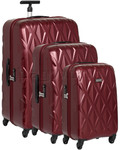 Antler Atlas Hardside Suitcase Set of 3 Red 39626, 39623, 39622 with FREE GO Travel Luggage Scale G2008