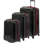 Qantas Constellation Hardside Suitcase Set of 3 Black Q980A, Q980B, Q980C with FREE Go Travel Luggage Scale G2008