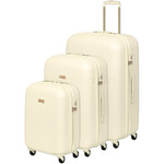 Qantas Mascot Hardside Suitcase Set of 3 White Q440A, Q440B, Q440C with FREE Go Travel Luggage Scale G2008