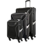 American Tourister Airshield Softside Suitcase Set of 3 Black 75547, 75548, 75549 with FREE Travelon Luggage Scale 12775