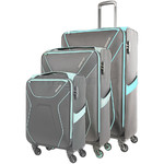 American Tourister Airshield Softside Suitcase Set of 3 Grey 75547, 75548, 75549 with FREE Travelon Luggage Scale 12775