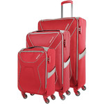 American Tourister Airshield Softside Suitcase Set of 3 Red 75547, 75548, 75549 with FREE Travelon Luggage Scale 12775