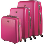 Jump Nice Hardside Suitcase Set of 3 Fuchsia J6553, J6551, J6552 with FREE Go Travel Luggage G2008