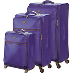 Jump Nice Softside Suitcase Set of 3 Purple J6570, J6572, J6573 with FREE GO Travel Luggage Scale G2006