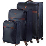 Jump Nice Softside Suitcase Set of 3 Navy J6570, J6572, J6573 with FREE GO Travel Luggage Scale G2006