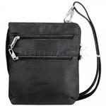 Travelon Classic RFID Blocking Anti-Theft Slim Double Zip Crossbody Bag Black 43116