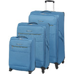 Swiss Gear Cyprus Softside Suitcase Set of 3 Blue 8600C, 8600B, 8600A with FREE GO Travel Luggage Scale G2008