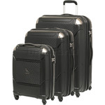 Qantas Longreach Hardside Suitcase Set of 3 Black Q530A, Q530B, Q530C with FREE Go Travel Luggage Scale G2008