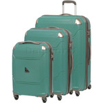 Qantas Longreach Hardside Suitcase Set of 3 Green Q530A, Q530B, Q530C with FREE Go Travel Luggage Scale G2008
