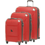 Qantas Longreach Hardside Suitcase Set of 3 Red Q530A, Q530B, Q530C with FREE Go Travel Luggage Scale G2008