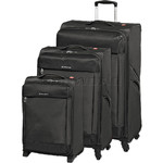 Swiss Gear Lisbon Softside Suitcase Set of 3 Black 9900C, 9900B, 9900A with FREE GO Travel Luggage Scale G2008
