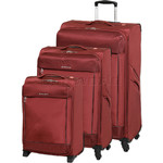 Swiss Gear Lisbon Softside Suitcase Set of 3 Red 9900C, 9900B, 9900A with FREE GO Travel Luggage Scale G2008