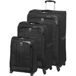 Swiss Gear Milos Softside Suitcase Set of 3 Black 1200C, 1200B, 1200A with FREE GO Travel Luggage Scale G2008