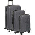 Antler Lightning Hardside Suitcase Set of 3 Charcoal 39109, 39023, 39026 with FREE Go Travel Luggage Scale G2008