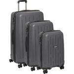 Antler Lightning Hardside Suitcase Set of 3 Charcoal 39109, 39023, 39026 with FREE Go Travel Luggage Scale G2008