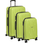 Antler Lightning Hardside Suitcase Set of 3 Green 39109, 39023, 39026 with FREE Go Travel Luggage Scale G2008