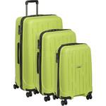 Antler Lightning Hardside Suitcase Set of 3 Green 39109, 39023, 39026 with FREE Go Travel Luggage Scale G2008