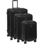 Qantas Winton Hardside Suitcase Set of 3 Black Q550A, Q550B, Q550C with FREE Go Travel Luggage Scale G2006