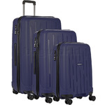 Antler Lightning Hardside Suitcase Set of 3 Navy 39109, 39023, 39026 with FREE Go Travel Luggage Scale G2008