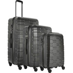 Antler Prism Embossed Hardside Suitcase Set of 3 Charcoal 40909, 40923, 40926 with FREE GO Travel Luggage Scale G2008