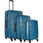 Antler Prism Embossed Hardside Suitcase Set of 3 Teal 40909, 40923, 40926 with FREE GO Travel Luggage Scale G2008