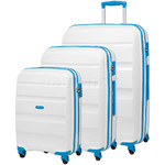 American Tourister Bon Air Hardside Suitcase Set of 3 Blue Trim 62940, 62941, 62942 with FREE Samsonite Luggage Scale 34042