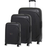 Qantas Mackay Hardside Suitcase Set of 3 Black Q850A, Q850B, Q850C with FREE Go Travel Luggage Scale G2008
