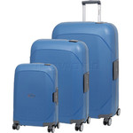 Qantas Mackay Hardside Suitcase Set of 3 Blue Q850A, Q850B, Q850C with FREE Go Travel Luggage Scale G2008