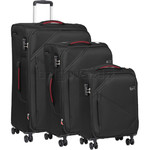 Qantas Townsville Softside Suitcase Set of 3 Black Q490A, Q490B, Q490C with FREE Go Travel Luggage Scale G2008