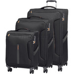 American Tourister Airliner Softside Suitcase Set of 3 Black 79385, 79384, 79383 with FREE Samsonite Luggage Scale 34042