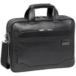 "Samsonite Savio Leather IV 16.4"" Laptop Briefcase Black 80442"