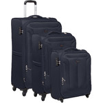 Qantas Gladstone Softside Suitcase Set of 3 Navy Q240A, Q240B, Q240C with FREE Go Travel Luggage Scale G2008