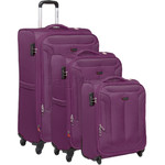 Qantas Gladstone Softside Suitcase Set of 3 Purple Q240A, Q240B, Q240C with FREE Go Travel Luggage Scale G2008