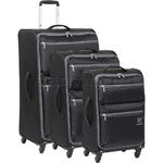 Revelation Weightless D4 Softside Suitcase Set of 3 Black 40626, 40623, 40622 with FREE GO Travel Luggage Scale G2008