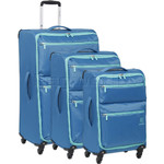 Revelation Weightless D4 Softside Suitcase Set of 3 Blue 40626, 40623, 40622 with FREE GO Travel Luggage Scale G2008