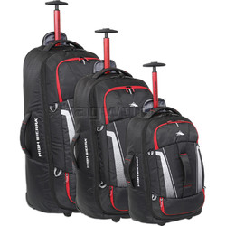 High Sierra Composite V3 Backpack Wheel Duffel Set of 3 Black 87274, 87275, 87276 with FREE Samsonite Luggage Scale 34042