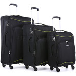 Antler Zeolite Softside Suitcase Set of 3 Black 42626, 42616, 42615 with FREE GO Travel Luggage Scale G2006