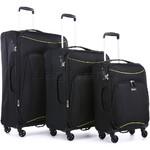 Antler Zeolite Softside Suitcase Set of 3 Black 42626, 42616, 42615 with FREE GO Travel Luggage Scale G2006