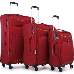 Antler Zeolite Softside Suitcase Set of 3 Red 42626, 42616, 42615 with FREE GO Travel Luggage Scale G2006