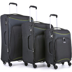 Antler Zeolite Softside Suitcase Set of 3 Charcoal 42626, 42616, 42615 with FREE GO Travel Luggage Scale G2006