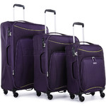 Antler Zeolite Softside Suitcase Set of 3 Purple 42626, 42616, 42615 with FREE GO Travel Luggage Scale G2006