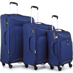 Antler Zeolite Softside Suitcase Set of 3 Blue 42626, 42616, 42615 with FREE GO Travel Luggage Scale G2006
