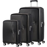 American Tourister Curio Hardside Suitcase Set of 3 Black 87999, 86229, 86230 with FREE Samsonite Luggage Scale 34042