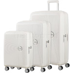 American Tourister Curio Hardside Suitcase Set of 3 White 87999, 86229, 86230 with FREE Samsonite Luggage Scale 34042