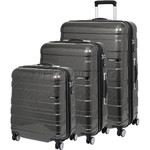 American Tourister HS MV+ Deluxe Hardside Suitcase Set of 3 Black Checks 88208, 88209, 88210 with FREE Samsonite Luggage Scale 34042