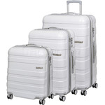 American Tourister HS MV+ Deluxe Hardside Suitcase Set of 3 White Checks 88208, 88209, 88210 with FREE Samsonite Luggage Scale 34042