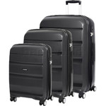 American Tourister Bon Air Deluxe Hardside Suitcase Set of 3 Black 87851, 87852, 87853 with FREE Samsonite Luggage Scale 34042